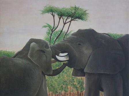 Stoeiende olifanten